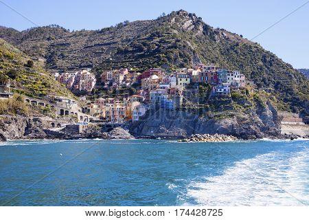 Manarola architecture from the sea. Manarola Liguria Italy.
