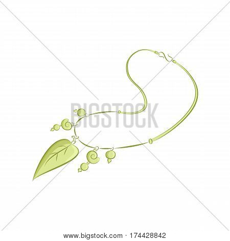 Realistic necklaces with pendants in the form of snail shells, leaves, beads. Graceful female accessory. The green object isolated on white background. Vector illustration in hand drawing style for your design. EPS10 format.
