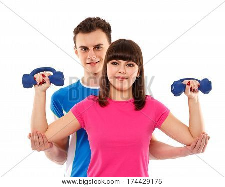 Teenagers Doing Fitness Together