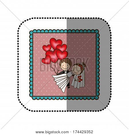 symbol married couple with red heart bombs, vector illustraction design