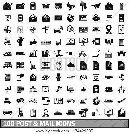 100 post and mail icons set in simple style for any design vector illustration