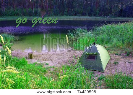 Tents In The Forest In Front Lake