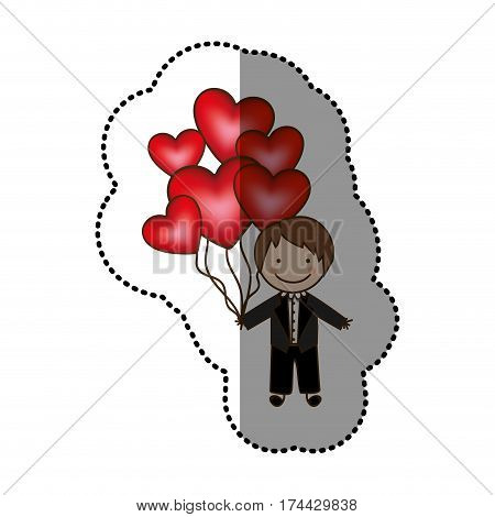 color bridegroom with red heart balloons in his hand, vector illustraction