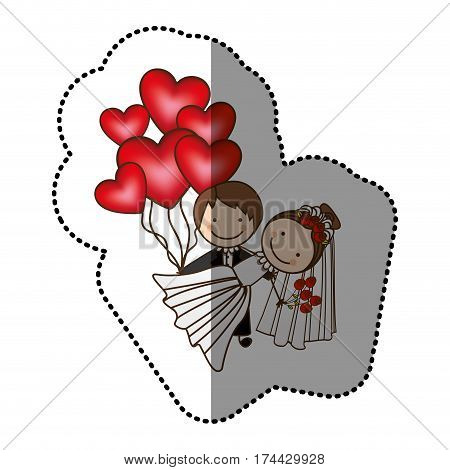 color married couple with red heart bombs, vector illustraction design