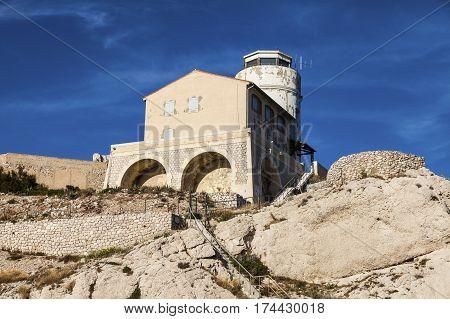 Tower on Frioul archipelago. Marseille Provence-Alpes-Cote d'Azur France.