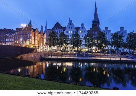 Lubeck and Trave River. Lubeck Schleswig-Holstein Germany.