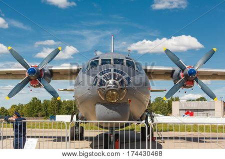 KUBINKA, MOSCOW REGION, RUSSIA - JUNE 18, 2015: Russian military transport aircraft An -12 standing at Kubinka air force base