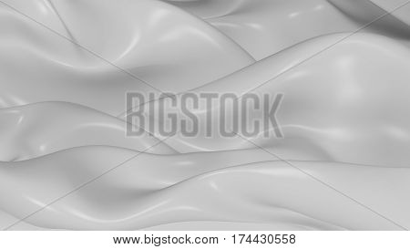 3D Illustration Abstract White folds Background with Glare