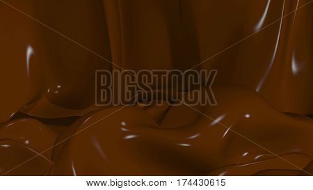 3D Illustration Abstract Chocolate Background with Glare