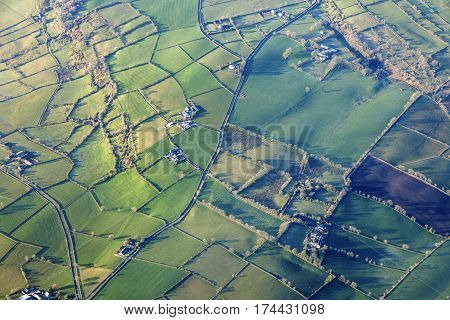 Aerial view of Northern Ireland. Northern Ireland United Kingdom.