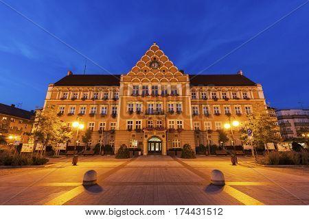 Town Hall (Mestsky Urad) on Main Square in Cesky Tesin. Cesky Tesin Moravian-Silesian Region Czech Republic.