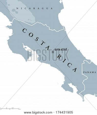 Costa Rica political map with capital San Jose, national borders and neighbors. Republic and country in Central America. Gray illustration with English labeling, isolated on white background. Vector.