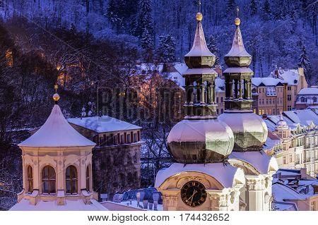 Mary Magdalene Church in Karlovy Vary. Karlovy Vary (Carlsbad) Bohemia Czech Republic.