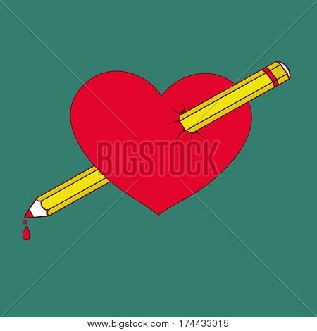 Heart pierced by a pencil vector illustration for Valentine's Day