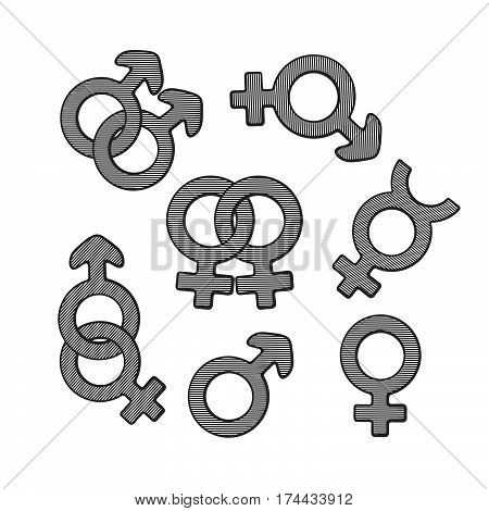 Vector illustration. Hand drawn sketch of gender symbols with scribble. Gender pictograms. Retro vintage element for greeting cards posters prints for clothes banners signboard showcases
