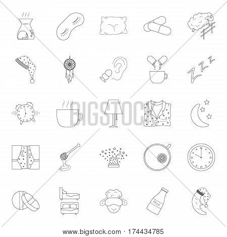 Set of thin line sleep and insomnia icon