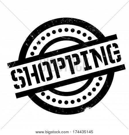 Shopping rubber stamp. Grunge design with dust scratches. Effects can be easily removed for a clean, crisp look. Color is easily changed.