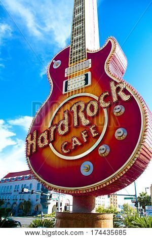 Las Vegas, USA - Oct 09, 2016: The Iconic sign of Hard Rock Cafe restaurant in Hard Rock Hotel Las Vegas,NV,USA. Hard Rock Cafe is a chain of theme restaurants.