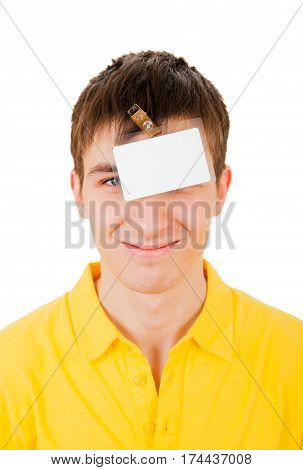 Young Man with Empty Badge on his Head Isolated on the White Background