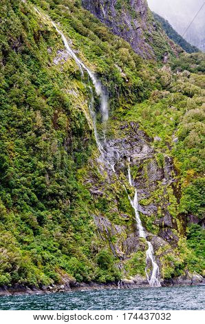 Soft cascading waterfall on an overcast and rainy day in the Milford Sound on the South Island of New Zealand