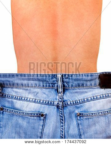 Rear View of Skinny Young Man with a Jeans on the White Background