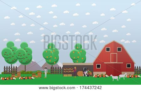 Vector illustration of beekeeper and farmers, male and female, working on apiary and farm. Beekeeping and farming concept design element in flat style