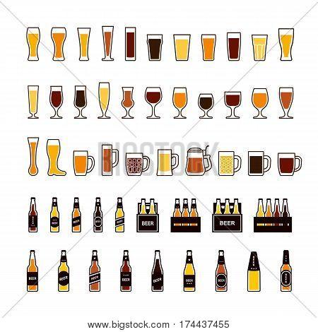 Beer color icons set, glasses and bottles. Vector illustration