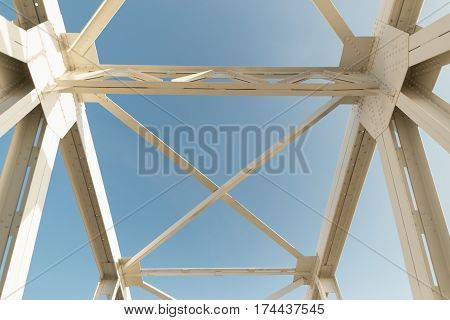 Railway Bridge On The Blue Sky In Spring.