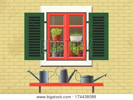 Vector flat illustration about spring, home garden, ecology, cosiness. Brick house and old window with green shutters, red frame and flowers in pots inside. Shelf with metal watering cans outside.