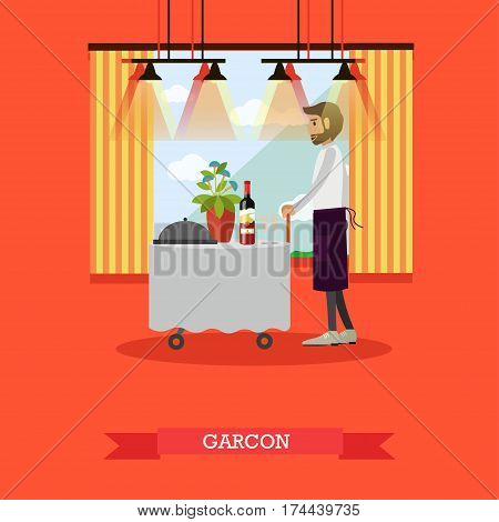 Vector illustration of waiter standing at table. Restaurant staff concept design element in flat style.