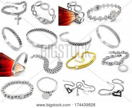 Jewelry Set Great Mix On A White Background