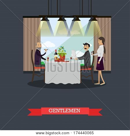 Vector illustration of two men having dinner at restaurant. Gentlemen in restaurant concept design element in flat style.