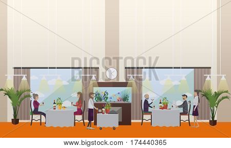 Vector illustration of luxury restaurant interior, waiters and people having dinner, lunch or supper. Good restaurant concept design element in flat style.