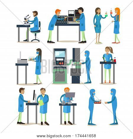 Vector set of biologists, chemists, physicists carrying out experiments isolated on white background. Scientists and laboratory equipment concept design elements, icons in flat style.