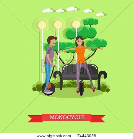 Vector illustration of young couple riding monocycle. One-wheeled, self-balancing electric unicycle concept design element in flat style.