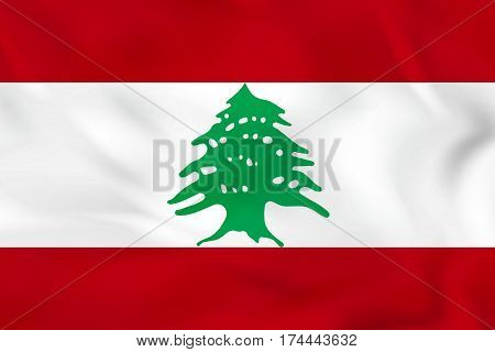Lebanon Waving Flag. Lebanon National Flag Background Texture.