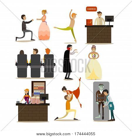 Vector set of opera concept icons isolated on white background. Actors, singers, dancers, spectators characters, cashbox and cafe flat style design elements.