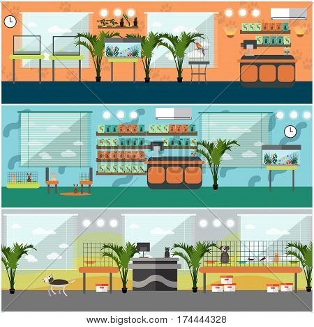 Vector set of pet shop interior concept posters, banners. Pet store, animals, pet food and accessories flat style design elements.