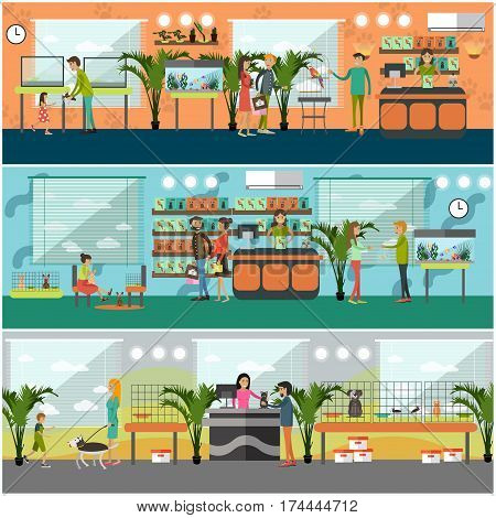 Vector set of pet shop concept posters, banners. Saleswoman, animals and people buying pets and food for them. Flat style design elements.