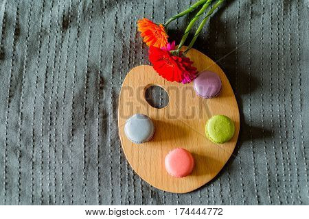 Colorful Flowers And French Macarons