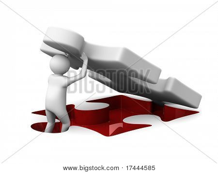 Man with puzzl. Isolated 3D image poster
