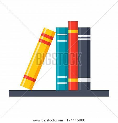 Wall-mounted shelf with books vector illustration in flat style