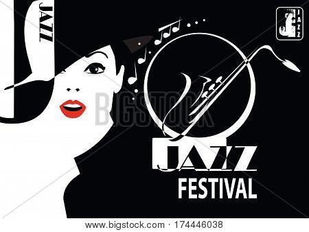 Jazz festival. Retro a poster with the stylish girl. Vector Illustration