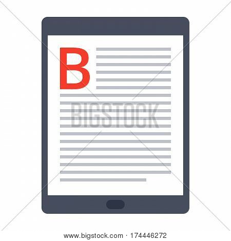 eBook icon with tablet in flat style