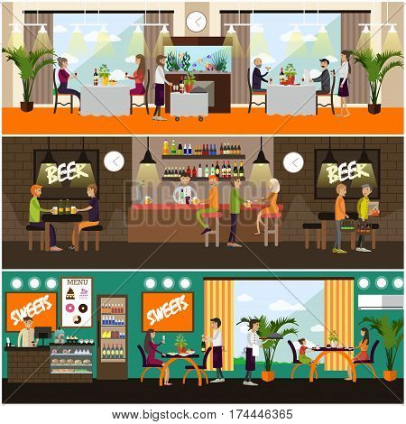 Vector set of pub, brasserie and restaurant concept posters, banners. Waiters, people drinking beer, having dinner, lunch or supper, flat style design elements.