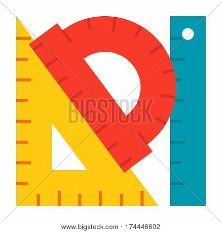 Geometry concept with protractor, ruler and triangle