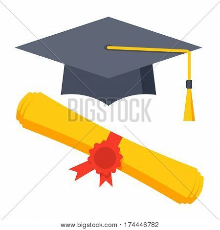 Graduation cap and diploma icon, vector illustration in flat style