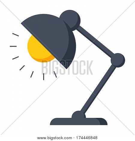 Table lamp icon, reading-lamp or desk-lamp, vector illustration in flat style