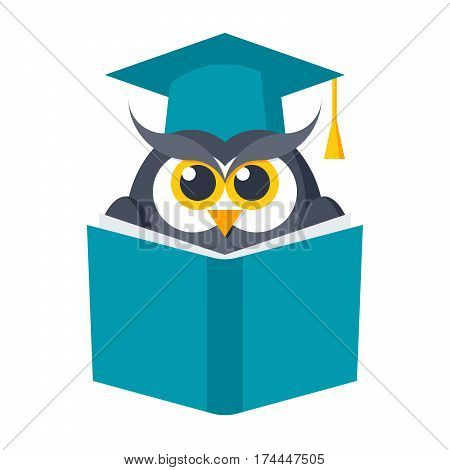 Education concept, owl with book in graduation cap