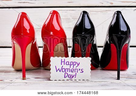 Two pairs of women's shoes. Stylish present for Women's day.